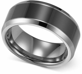 Triton Men's Tungsten Carbide and Ceramic Ring, 8mm Wedding Band $600 thestylecure.com