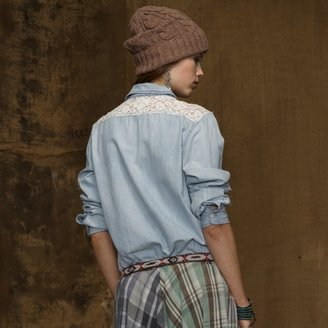Denim & Supply Ralph Lauren Chambray Lace Utility Shirt