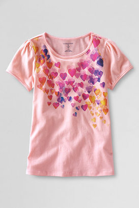 Lands' End Toddler Girls' Short Sleeve Picot Edge Falling Hearts Graphic T-shirt