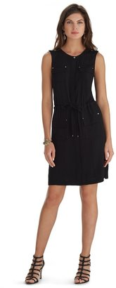 White House Black Market Sleeveless Black Camp Shirt Dress
