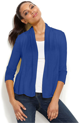 INC International Concepts Cardigan, Three-Quarter-Sleeve Peplum-Back Draped