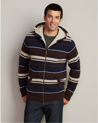 Eddie Bauer Striped Sherpa-Lined Hoodie Sweater