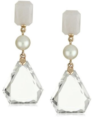 "Ivanka Trump Soho Bead"" Rose Gold Cut Stone and Pearl Drop Earrings"