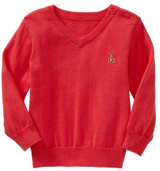 Gap Red V-neck button sweater