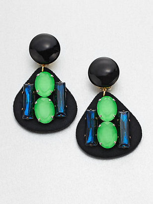 Marni Multi-Colored Stone Embellished Clip-On Drop Earrings