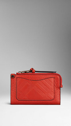 Burberry Small Embossed Check Utility Wallet