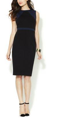 Paneled Contrast Trim Sheath Dress