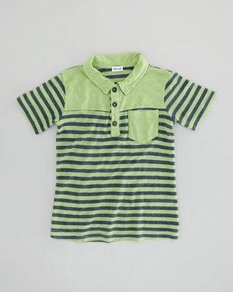 Splendid Littles French-Stripe Slub Polo, Vintage Kelly, Sizes 4-6X
