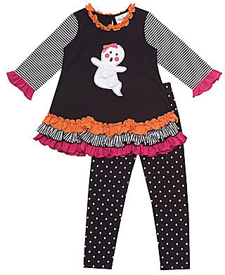 Rare Editions 2T-6X Halloween Ghost Ruffle-Trimmed Top & Dotted Leggings Set