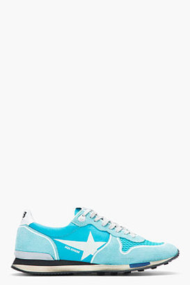 Golden Goose Teal Suede & Nylon Running Trainers