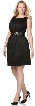 Amy Byer Plus Size Sleeveless Belted Sheath Dress