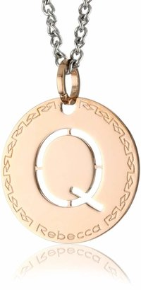"""Rebecca Word"""" Rose Gold Over Bronze Letter """"Q"""" Necklace"""