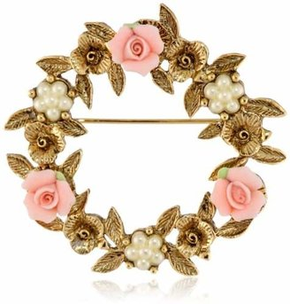 1928 Jewelry Porcelain Rose Floral Wreath Brooch