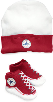 Converse Baby Set, Baby Boys or Baby Girls Hat and Faux-Lace Booties