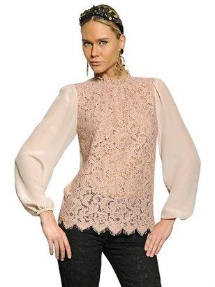 Dolce & Gabbana Viscose Lace & Crepe De Chine Shirt