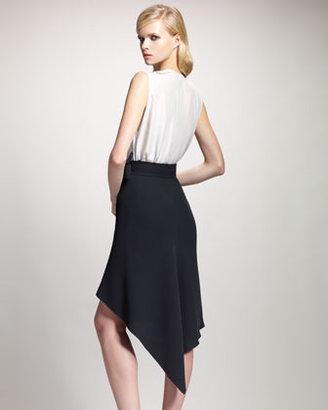 Lanvin Asymmetric-Hem Wrap Skirt, Black