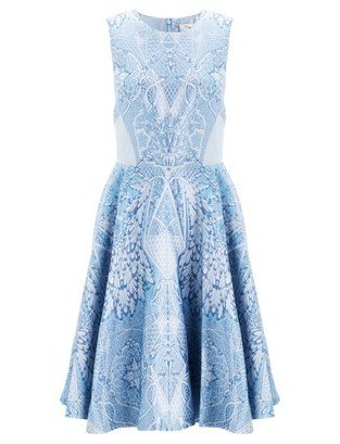 Temperley London China Blue Jacquard Dress