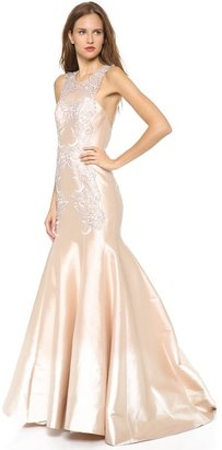 Lela Rose Mirrored Lace Gown