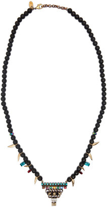 Iosselliani Black Agate Triangle Necklace in Black