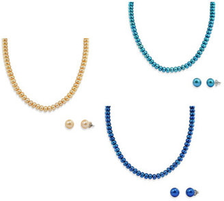 Honora Sterling Silver, Freshwater Cultured Pearl Necklace w/9-10mm Stud Earring Set