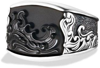 David Yurman Waves Three-Sided Ring with Carved Black Onyx