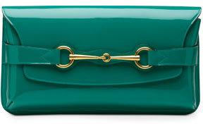 Gucci Bright Bit Patent Leather Clutch Bag, Teal