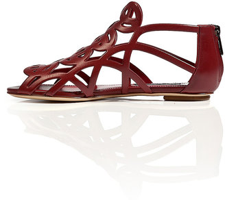 Ralph Lauren Leather Laser-Cut Wafer Sandals in Red