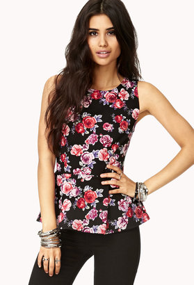 Forever 21 Romantic Rose Peplum Top