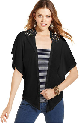 Planet Gold Juniors Top, Short Batwing Sleeve Cardigan