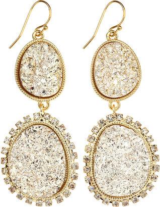 RJ Graziano Two-Tier Druzy Drop Earrings, Golden