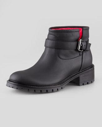 Fendi Shearling-Lined Motorcycle Boot, Black/Fuchsia