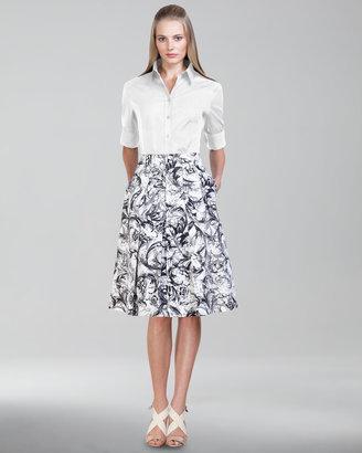 Carolina Herrera Baroque-Print A-Line Skirt