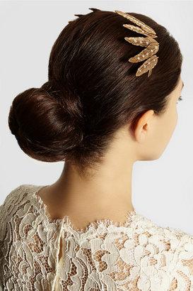 Oscar de la Renta Gold-plated crystal feather headband