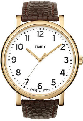 Timex 'Easy Reader' Leather Strap Watch, 42mm