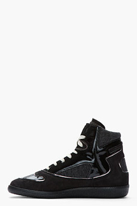 Maison Martin Margiela Black Patent Leather & Canvas High-Top Sneakers