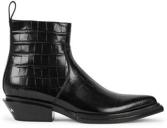 Balenciaga Santiag Crocodile-effect Leather Ankle Boots