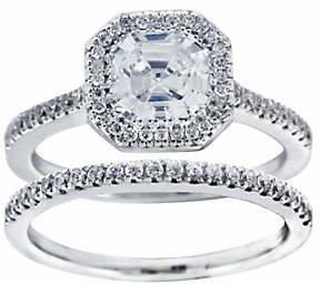Diamonique 2.25 cttw 2 Piece Bridal Ring Set, Platinum Clad