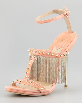 Brian Atwood Moultrie Metal Fringe & Studded Suede Sandal