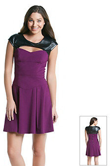 Betsey Johnson Fit and Flare Dress with Faux Leather Detail