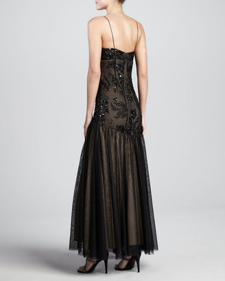 Aidan Mattox Beaded Drop-Waist Gown