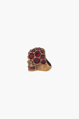 Alexander McQueen Ruby Crystal-Embellished Glory Skull Ring
