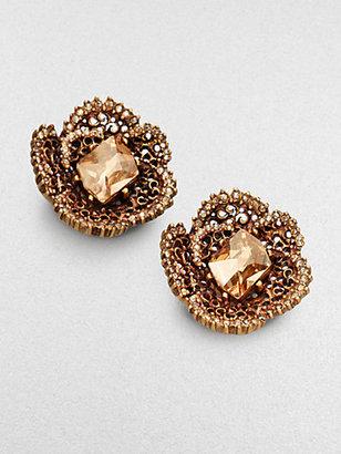 Oscar de la Renta Flower Clip-On Button Earrings