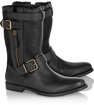 Burberry Shoes & Accessories Leather, suede and shearling biker boots