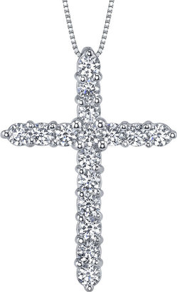 JCPenney FINE JEWELRY Diamonore Simulated Diamonds 1 CTW Cross Pendant