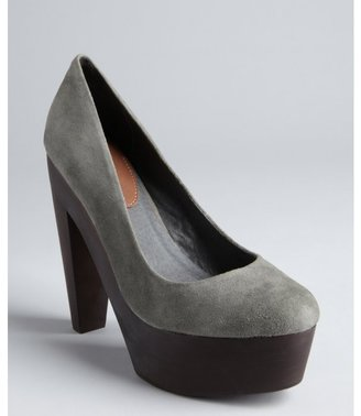 Madison Harding grey suede 'Ray' platform pumps