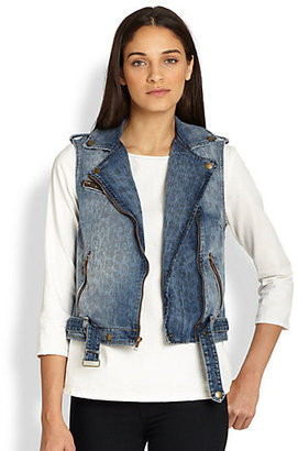 Current/Elliott Leopard-Print Denim Biker Vest