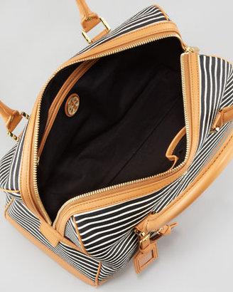 Tory Burch Viva Striped Satchel Bag, Black/White