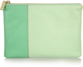 J.Crew Two-tone textured-leather pouch