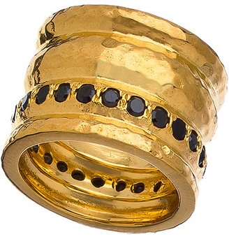 Melinda Maria Gold And Black Cz Cigar Band Ring