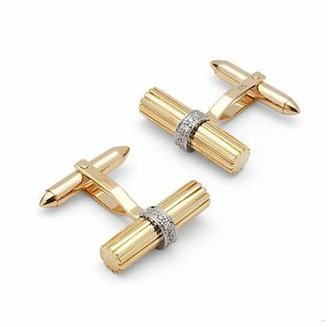 Aspinal of London Rifle Barrell Cufflinks Gemset with Cluster Diamonds